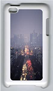 iPod 4 Case Cover,Paris Cityscape Dusk Hard Case Cover for Apple iPod 4/ ipod 4th Generation PC Plastic White