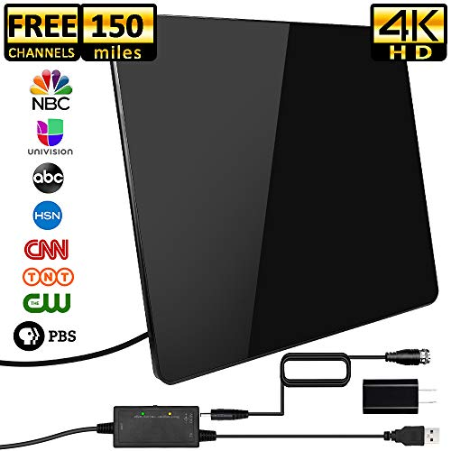 [2019 Newest] HDTV Antenna,Indoor Digital TV Antenna Amplified 150 Miles Range Support 4K 1080P HD VHF UHF & Older TV's Digital Antenna with Amplifier Signal Booster,17ft Coax Cable/USB Power ()