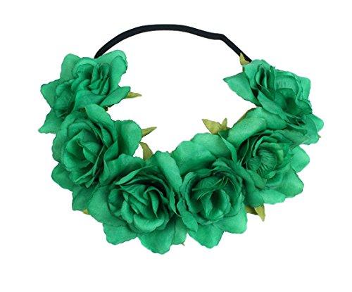 Floral Fall Rose Holiday Christmas Crown Festival Headbands Hippie Flower Headpiece F-53 (Green) (Hippie Green)