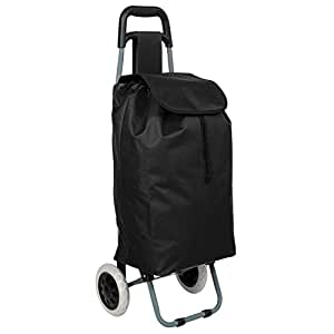 TecTake Folding wheeled lightweight shopping trolley with zipped pocket - different colours - (Black) by TecTake