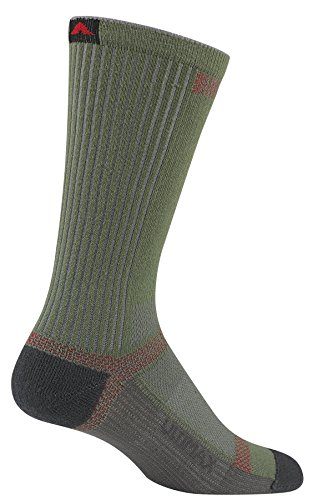 Junior Socks Trail (Wigwam Men's Ultra Cool-Lite Ultimax Ultra-Lightweight Crew Sock, Moss, Large with a Helicase brand sock ring)