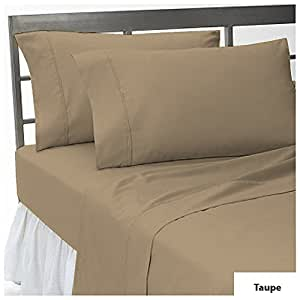 "100% EGYPTIAN COTTON THREE {3} PCS FITTED SHEET TWIN SIZE WITH 24"" DEEP POCKET IN NEW TAUPE COLOR { 650 THREAD COUNT / SOLID PATTERN }"