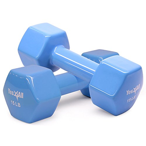 Yes4All Vinyl Coated Dumbbells - PVC Hand Weights for Total Body Workout (Set of 2, Blue, 15 - Lb Weights 15