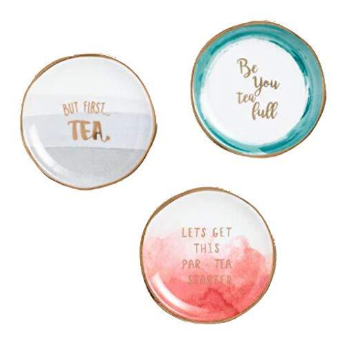 Watercolor Sentimental Sayings Porcelain Tea Bag Rests - Set of 3 (Spoon Tea Rest)