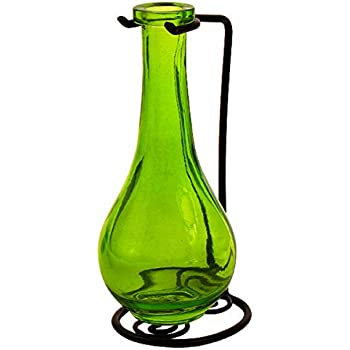 Small Glass Vases, Colored Bottles, Decorative Bud Vase G187VF Lime Green Unique Flower Holder