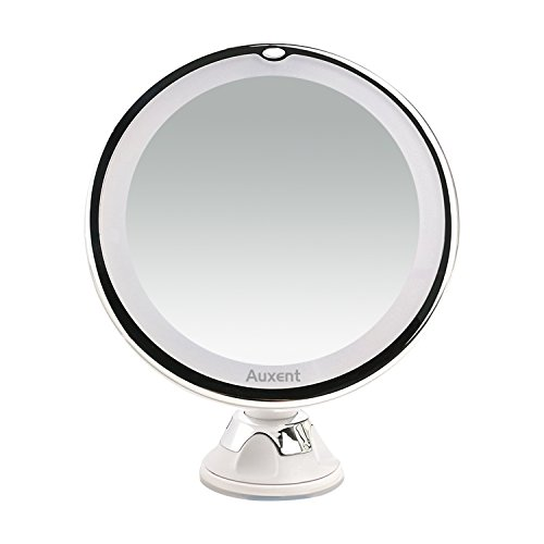 Auxent Makeup Mirror with 7X Magnifying, LED Lighted Cosmetic Mirror with Suction Base for Makeup, Shaving and Tweezing, Home and Travel