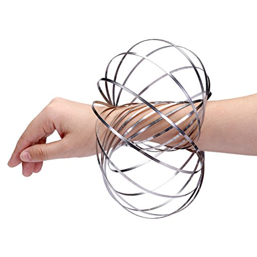 Flow Rings Kinetic Sculpture Spring Toy, XYIYI Multi Sensory Interactive 3D Shaped Magic Ring for Adults and Kids (Silver) (Kinetic Ring)