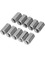 10pcs M6 Long Coupling Nut,18mm Length Zinc-Plated Carbon Steel Hex Nut Screw Joint Nut Industrial Construction Fasteners(M6*18)