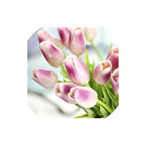 Artificial Tulips 31Pcs/Lot Tulips Pu Real Touch Flowers for Wedding Decoration Home Party Decoration,Mini Light Purple 58