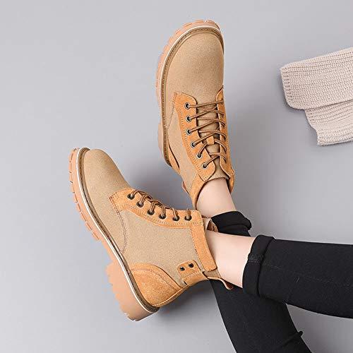 Femelles Talon Hauteur Hwf Britanniques Courtes Lacets 5cm couleur 39 Noir Loisirs Brown Chaussures Rétro Taille 3 De Femmes Femme D'hiver Bottes 885x7gO