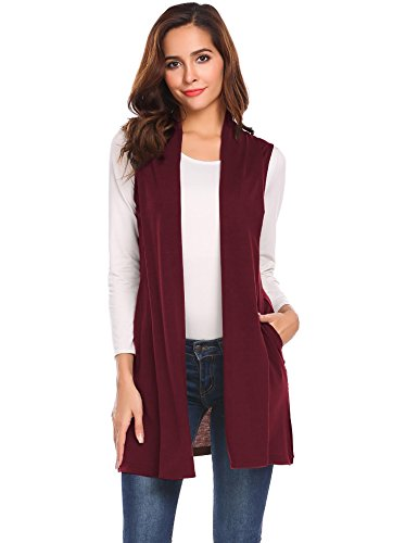 Knit Long Vest - Lunir Women's Pockets Solid Color Sleeveless Open Front Vest Cardigan