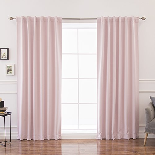 Best Home Fashion Thermal Insulated Blackout Curtains - Back Tab/Rod Pocket - Light Pink - 52
