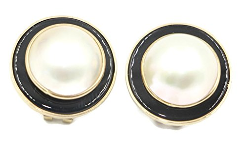 Black Mabe Pearl - Mabe White Pearl Earring with Black Onyx and 14k Yellow Gold Omega Backs