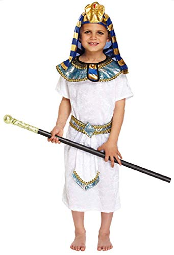 Boys 4 Piece Egyptian Pharaoh Historical Book Day Fancy Dress Costume Outfit 4-12 Years (10-12 Years) White]()