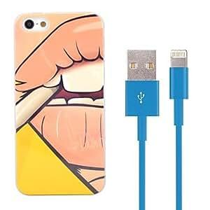 GDW diseño humo estuche de plástico duro con 100cm de 8 pines a USB de carga de datos por cable azul para el iphone 5 / 5s