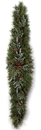 AUTOGRAPH FOLIAGE Artificial Mixed Pine Holiday Mantelpiece w/Pine Cones (Autograph Foliage Christmas)
