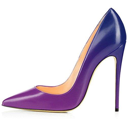 Stiletto Shoes Party Pointy Dress Women's toe High Pumps Heels Bluepurple Wedding Platform AIWEIYi aq86vwPax