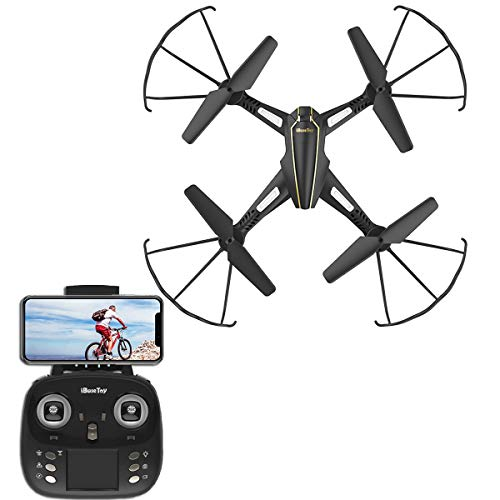 iBaseToy RC Quadcopter Drone with Camera Live Video & LED Lights 720P HD Altitude Hold Equipped with Headless Mode 2.4G+4CH+6Axis One Key Return for Easy Operation APP Transmission For Sale