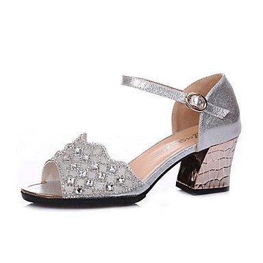 LvYuan Zapatos de baile(Negro Plata Oro) -Latino Jazz Zapatillas de Baile Moderno Zapatos de Swing-No Personalizables-Tacón Cuadrado Gold