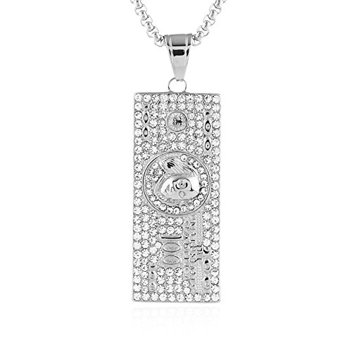 Plated Dollar Stainless Steel Pendant Necklace,Cz Inlay hip hop Chain 24