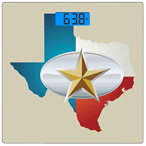 Precision Digital Body Weight Scale Texas Star Ultra Slim Tempered Glass Bathroom Scale Accurate Weight Measurements,Cowboy Belt Buckle Star Design with Texas Map Southwestern Parts of America,Multico
