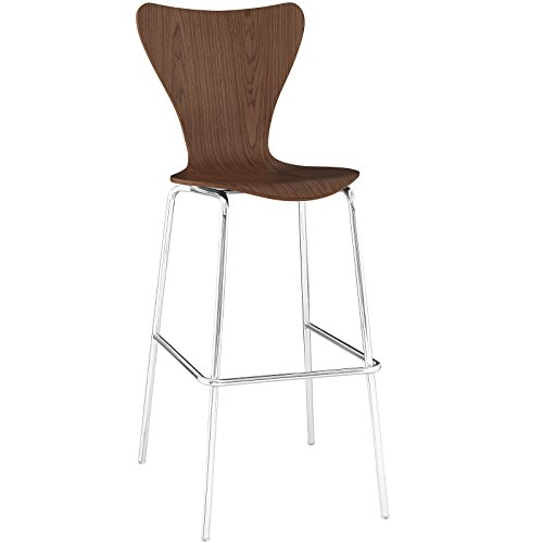 Stool Walnut Bar Modern - Modway Ernie Wood Bar Stool in Walnut