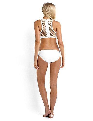 ZQ de la mujer Halter Tankinis, sólido inalámbrico/acolchado sujetador, poliéster), color blanco/negro, white-m, medium white-s