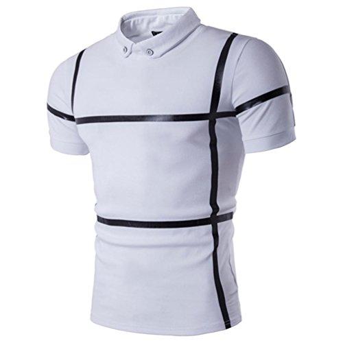 Polo T-Shirt,GREFER Men's Summer Striped Short Sleeve Tank Top Tee (M, -