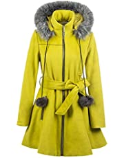ForeMode Women's Wool Trench Coat Winter Double-Breasted Jacket with Belts