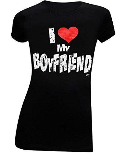 I Love My Boyfriend Womens Slim Juniors Fitted T-Shirt - (X-Large) - Black