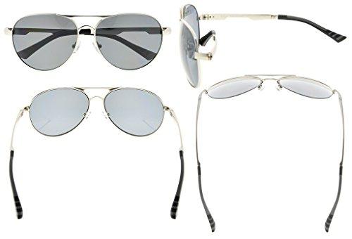 Eyekepper Lunettes de soleil Metal monture verres en Polycarbonate verres  Polarisees lunettes soleil style aviateur argentee ... 3eb7757da42