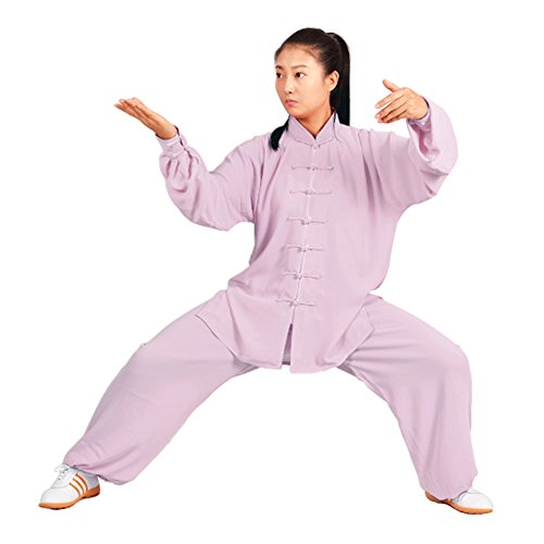 MYS Chinese Traditional Martial Arts Garment Tai Chi Suit Unisex Casual Dresses Cotton Mixed Silk for Morning Exercise Lilac M