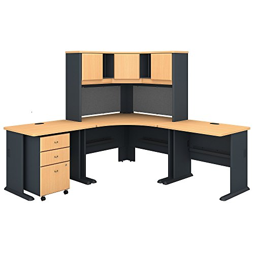 Bush Business Furniture Series A 84W x 84D Corner Desk with Hutch and Mobile File Cabinet in Beech and Slate