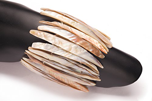 - Gold-Lip Sea Shells Mother-Of-Pearl Bracelet Beads Double Drilled Stick Shell Beads Size:7x66mm