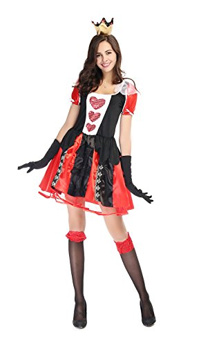 [Bulacker Love Poker Queen Princess Role Play Costume Set,Black&Red,One size] (Funny Ideas For Girl Halloween Costumes)
