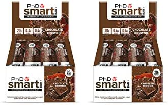 PhD Smart Bar High Protein Low Carb Bar, Chocolate Brownie, 2er Pack (2 x 12 Stück) 24 bars x 64 g