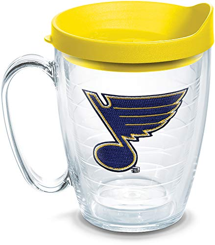 - Tervis 1062517 NHL St. Louis Blues Logo Tumbler with Emblem and Yellow Lid 16oz Mug, Clear