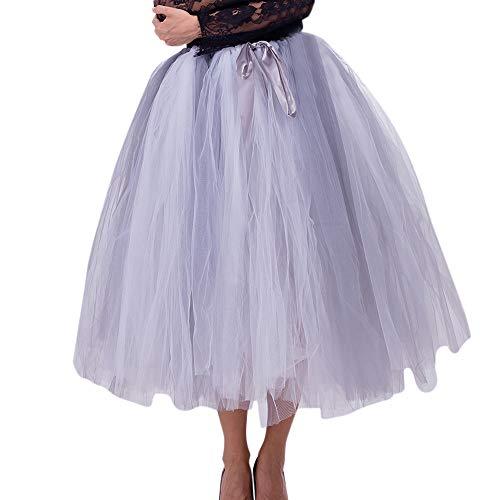 XiongBuy Women Large Swing mesh Tutu Skirt Skirt Color Matching Skirt Princess Bridesmaid Dress Skirt Maternity -