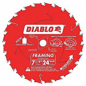 (4 Count) Freud Diablo D0724 7-1/4-Inch 24 Tooth ATB Carbide Framing Saw Blade with 5/8-Inch and Diamond Knockout Arbor