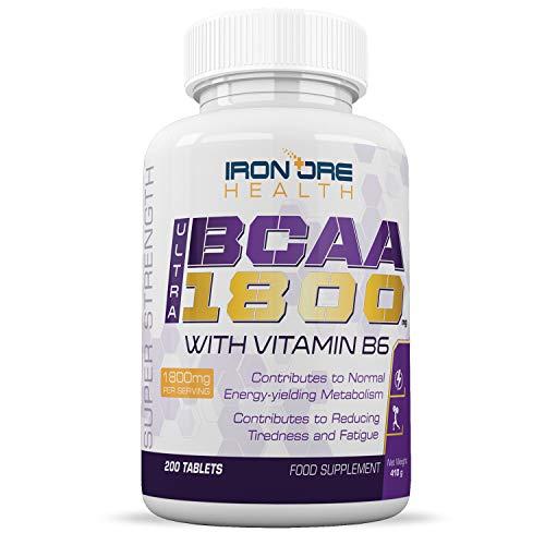 BCAA Ultra 1800 | Suplemento de aminoácidos ramificados extra fuerte para después de su rutina de ejercicios, 1800mg | 200 comprimidos | Hecho en el Reino ...