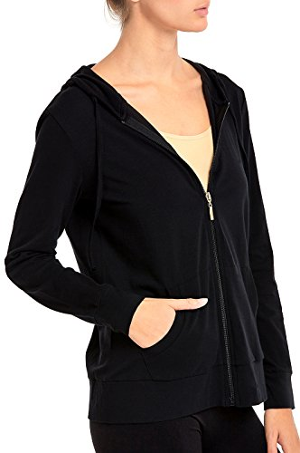 Sofra Women's Thin Cotton Zip up Hoodie Jacket (M, Black) by Sofra (Image #1)