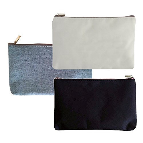 (Aspire 60-Pack Canvas Zipper Bags (20 White + 20 Black + 20 Grey) 6 3/4