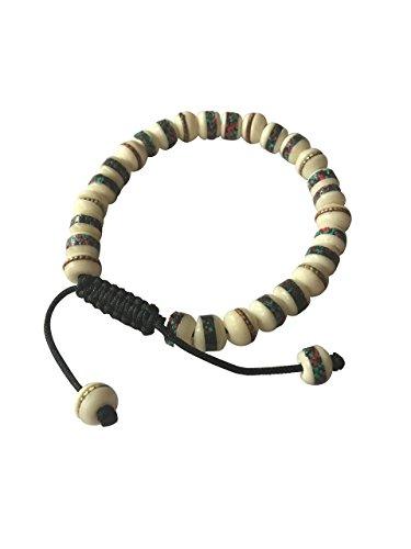 Tibetan Handmade Yak Bone (Tibetan Mala Yak Bone Embedded Medicine Wrist Mala for Meditation Handmade Draw String Silk)