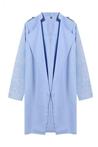 HOTOUCH Women Foldable Sleeve Open Front Cadigan Blazer - Light Blue Jacket