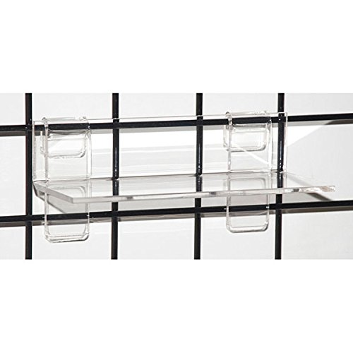 Case of 4 New Retails Clear Acrylic Grid Shelf 9''w x 4''d x 1/4'' thick by Grid Shelf