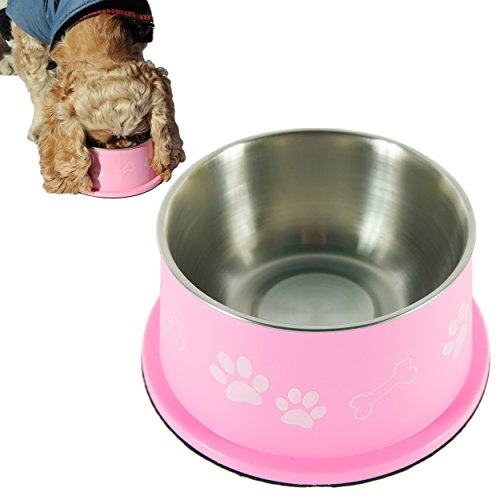 Ear Dish - PETISH SPANIEL BOWL for LONG EAR Dog - ERGONOMIC Personalized Custom Design BOWLS, NO Tip STAINLESS Dish (Large (27oz - 7.5 x 6.0 x 3.7inch), Candy Pink)