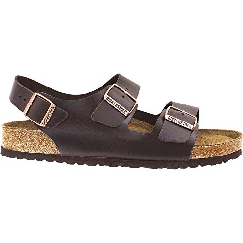 Birkenstock Unisex Milano SFB Flat, Brown Amalfi Leather, 42 BR/9 M US (Birkenstock Milano Amalfi Leather With Soft Footbed)