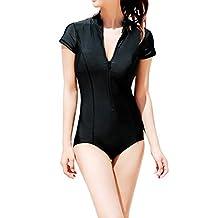 Futurino Women's Black Short Sleeve UV Protection Rash Guard Swimsuit One Piece