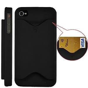 BONAMART ® Credit Card Hard Case Cover For iPhone 4 and 4S Matte Black