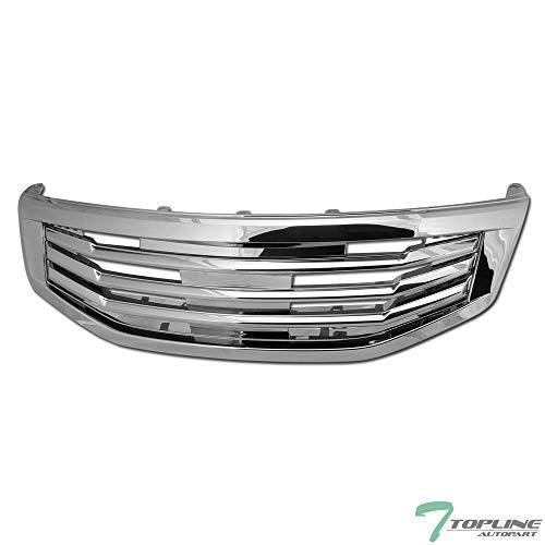 4 Door Hood - Topline Autopart Chrome MU Style Front Hood Bumper Grill Grille ABS For 11-12 Honda Accord 4 Door Sedan